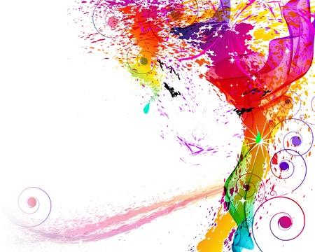 splash color: Illustrazione vettoriale. Volto femminile sono costituiti da elementi Grange. Vettoriali