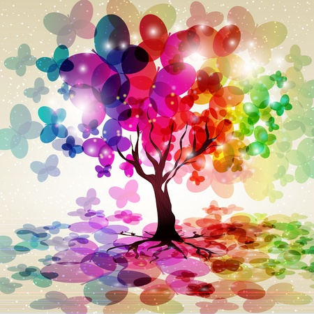 Abstract colorful background. Tree with a crown made of butterflies. Vector illustration. Vector