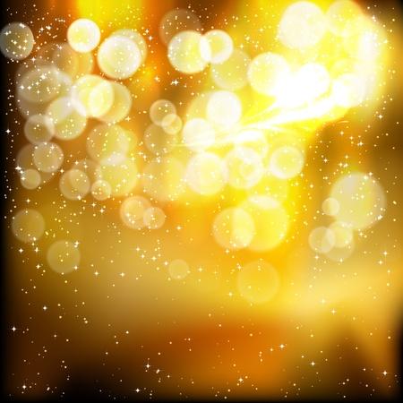 Golden festive lights background. Vector illustration.