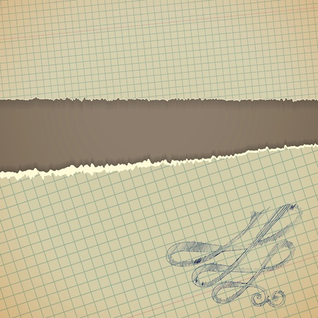 Torn paper borders with soft shadow. Vintage background. Vector