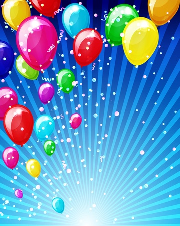 Holiday background with balloons and confetti. Vector
