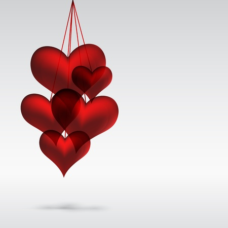 in copula: Copula red hearts. Abstact background. Illustration