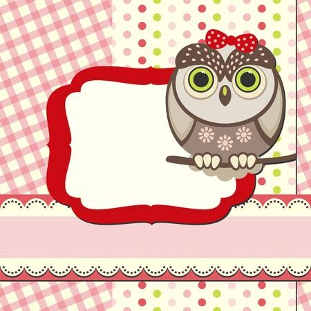 baby owl scrap background. Stock Vector - 10113622