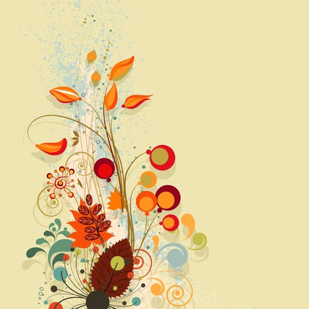Autumn floral composition background. Vector