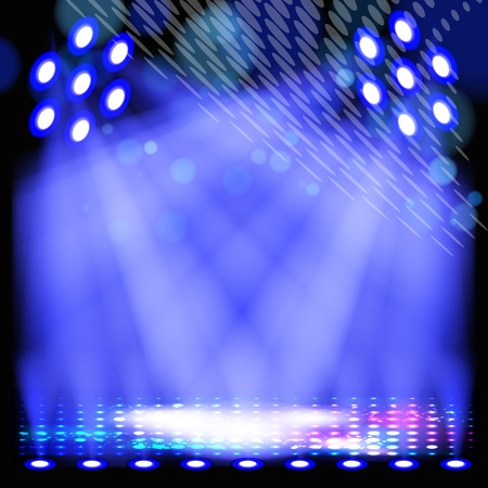 Blue spotlight background with light show effects. Vector
