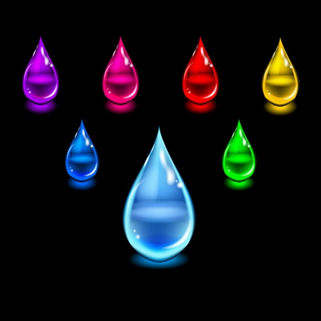clean blood: Glossy color drops  Illustration