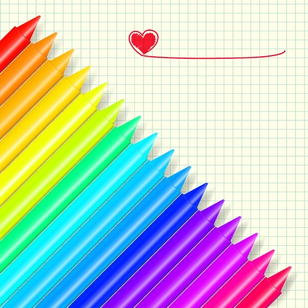 Colorful wax crayons on a cell background. Vector