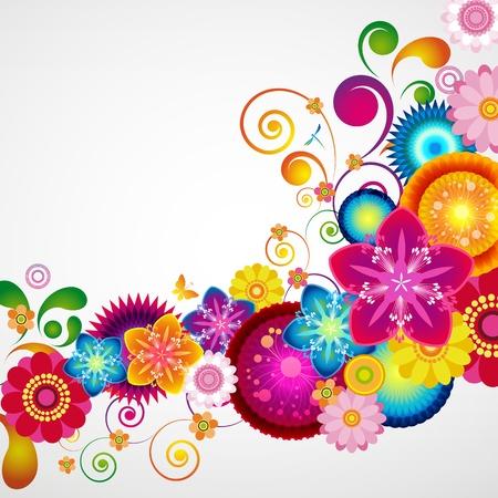 carnival background: Gift festive floral design background. Illustration