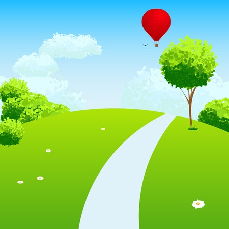 hill: Green Landscape with trees clouds flowers and air balloon. Illustration