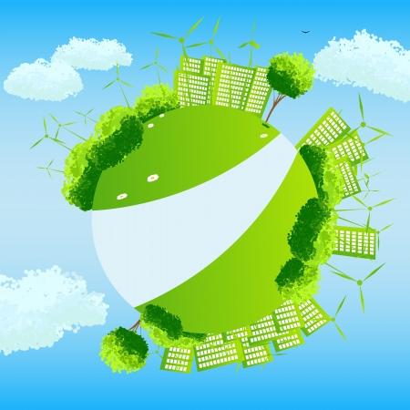 wereldbol groen: Groene wereldbol met bomen, sities en wind turbines. Stock Illustratie