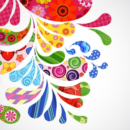 Splash of floral and ornamental drops background. Vector