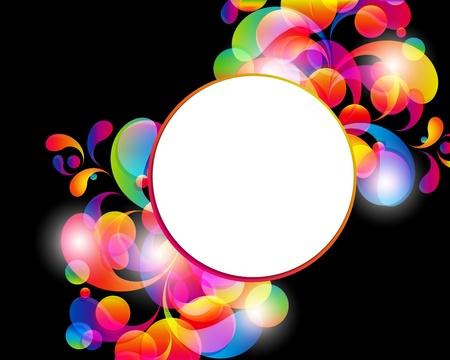 Card achtergrond. Abstract heldere kleur druppels en schone plaats voor uw tekst. Vector Illustratie