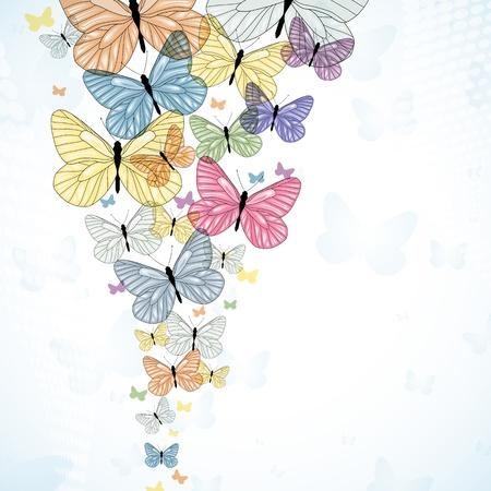 Abstarct background with colorfull butterfly. Vector.  Vector
