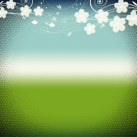 retro sunrise: Vector of grunge floral background. Stained-glass window style.