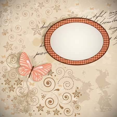 butterfly vintage: Vector floral background with a butterfly. Illustration