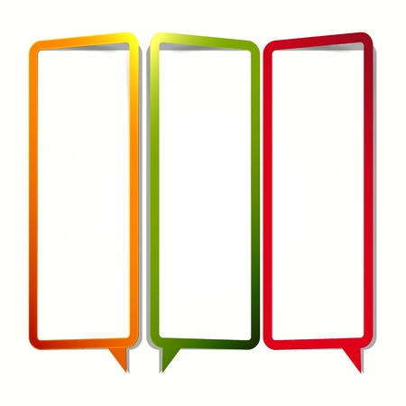 Long vertical oriented sticker in the form of an empty frame for your text. Vector Illustration