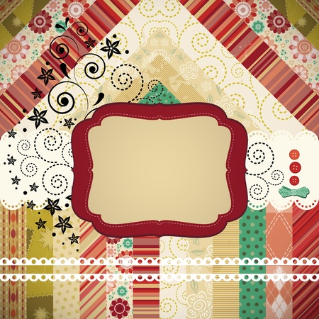 Scrap background made in the classic patchwork technique with floral stamps. Vector