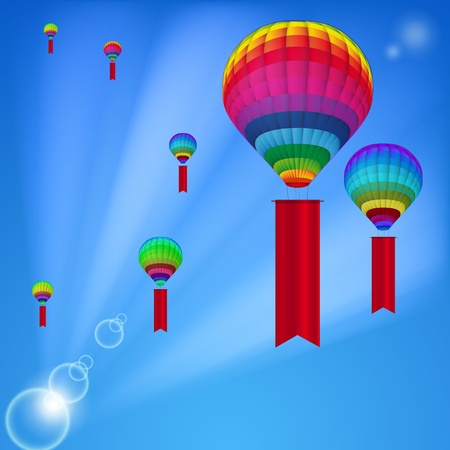Background white colorful hot air balloons. Vector