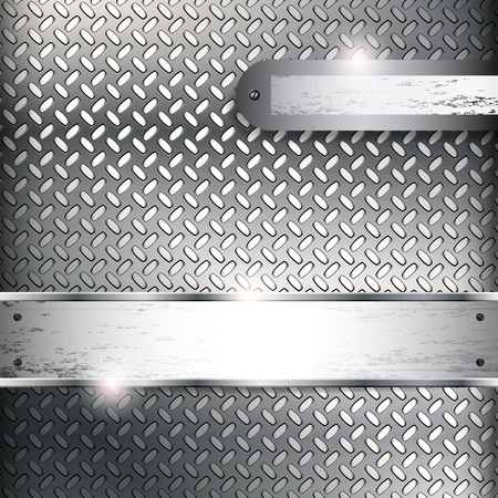 Abstract background with metal banners.  Illustration