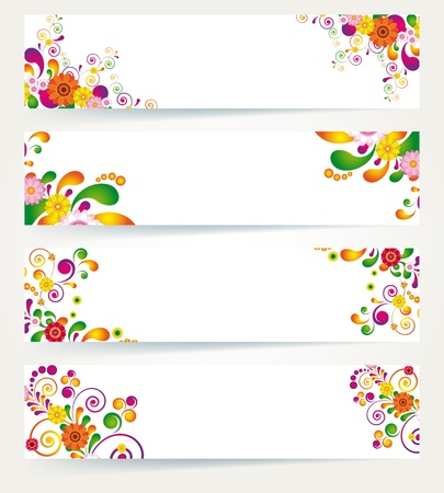 bright borders: Floral design banners.