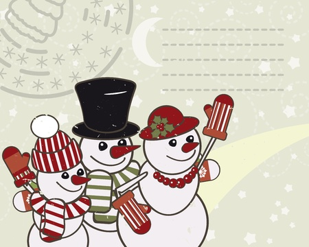 Retro Christmas card with the snowmen family. photo