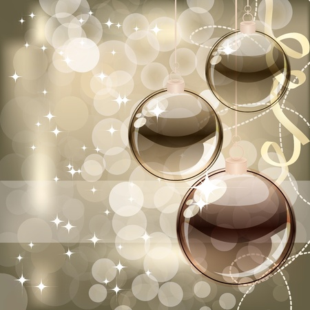 Christmas background with transparent balls photo