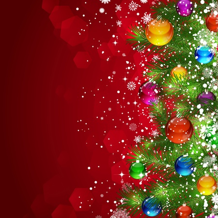 snowcovered: Christmas background with snow-covered Christmas tree decorated with glass balloons Stock Photo