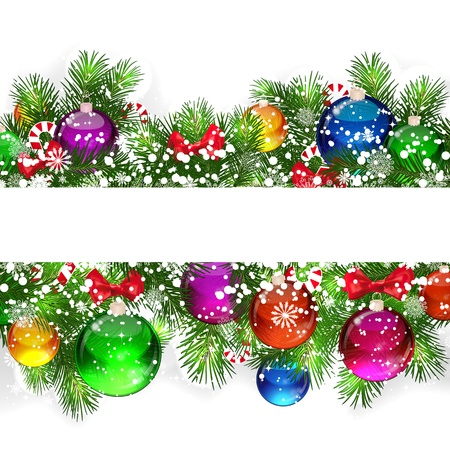 Christmas background with snow-covered branches of Christmas tree, decorated with candies and balloons. photo
