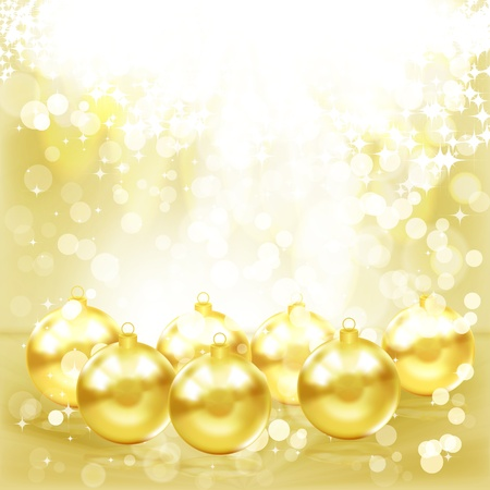Golden Christmas balls. photo