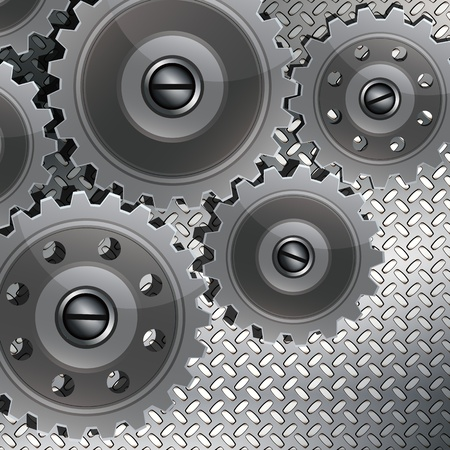 gears concept: Abstract techno background with metal gears on a fluted texture. The concept of teamwork, tech, etc. design.