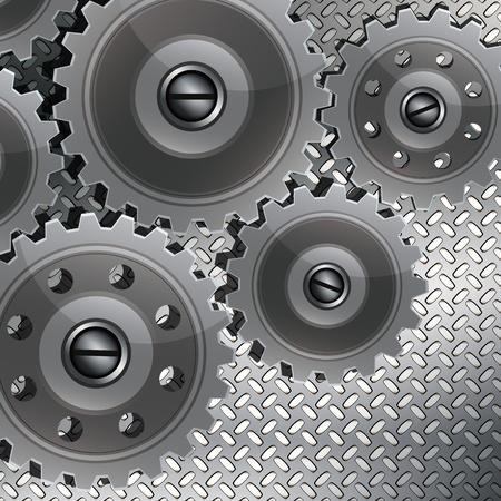 Resumen de fondo tecno con engranajes de metal en una textura acanalada. El concepto de trabajo en equipo, tecnología, diseño, etc.