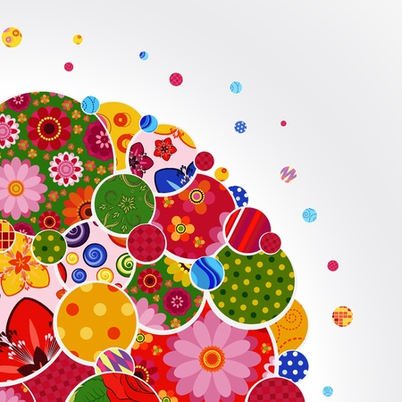 Background with floral and ornamental circles. Vector