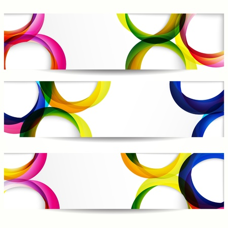 circle design: Abstract banner with forms of empty frames for your web design. Illustration