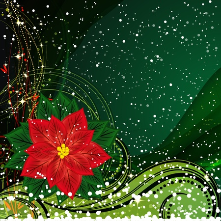 festive season: Christmas background with Christmas flower. Vector Illustration.