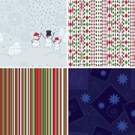 Set of Christmas seamless backgrounds photo