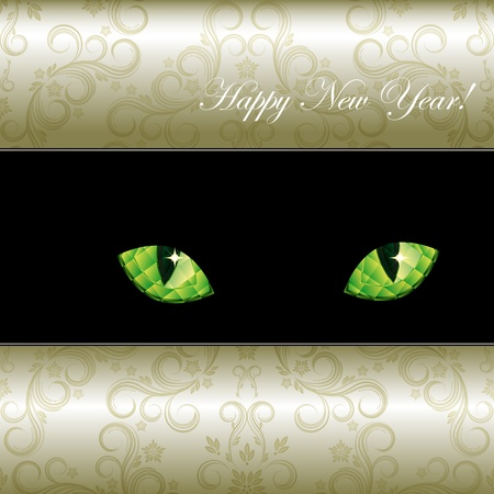 Festive background with curious emerald eyes of a cat. Vector illustration. illustration