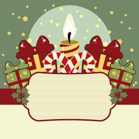 Retro Christmas background with candles, gifts and banner photo
