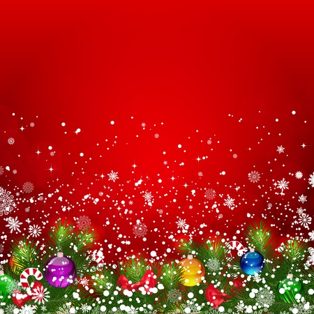 Christmas background with snow-covered branches of Christmas tree. photo