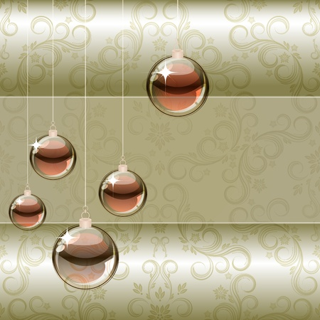 bronze background: Christmas background with transparent balls Stock Photo