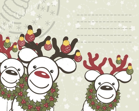 Christmas background with funny reindeers Santa Claus. Vector