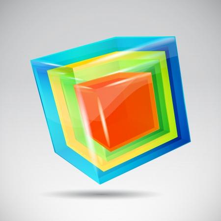 cubetti di ghiaccio: Vector cubo di cristallo colorato