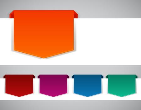 marcadores de libros: Resumen de origami bandera vector web de fondo.
