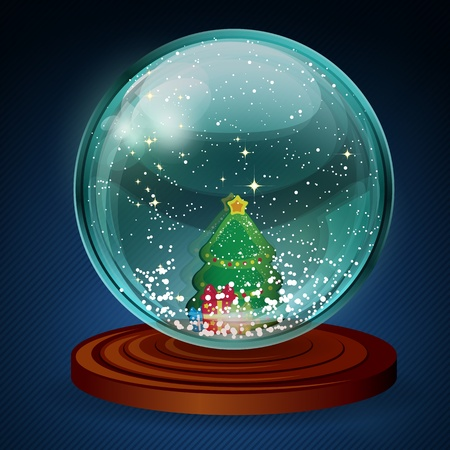 wooden insert: Vector snow ball with christmas tree and presents.