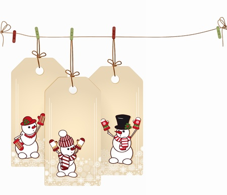 congratulations banner: Christmas tags with elements of the Christmas decor. Illustration