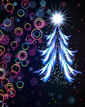 Glowing Christmas tree. Abstract vector background. Vector