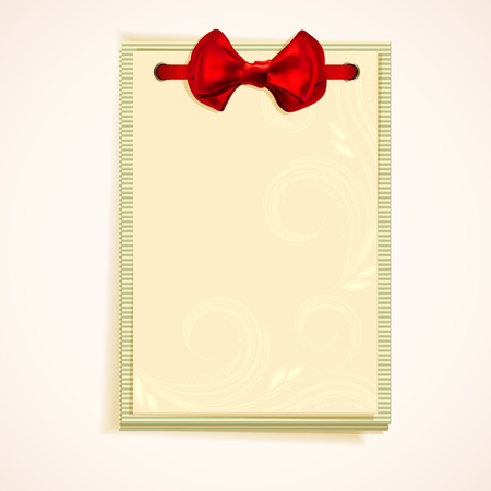 Cards notes with red bow. Vector