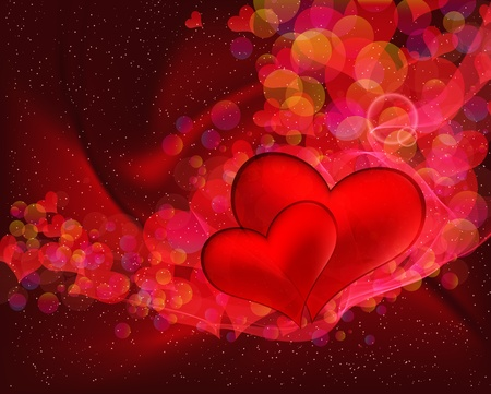 Flying hearts abstract vector background with space for your text Stock Vector - 12839263