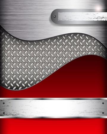 mecanica industrial: Resumen de fondo con banderas metall, vector. Vectores