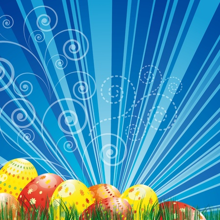 Easter background with colorful easter eggs over blue background. Stock Vector - 12839238