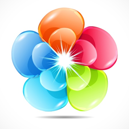 flower power: Abstract colorful glass shape vector background